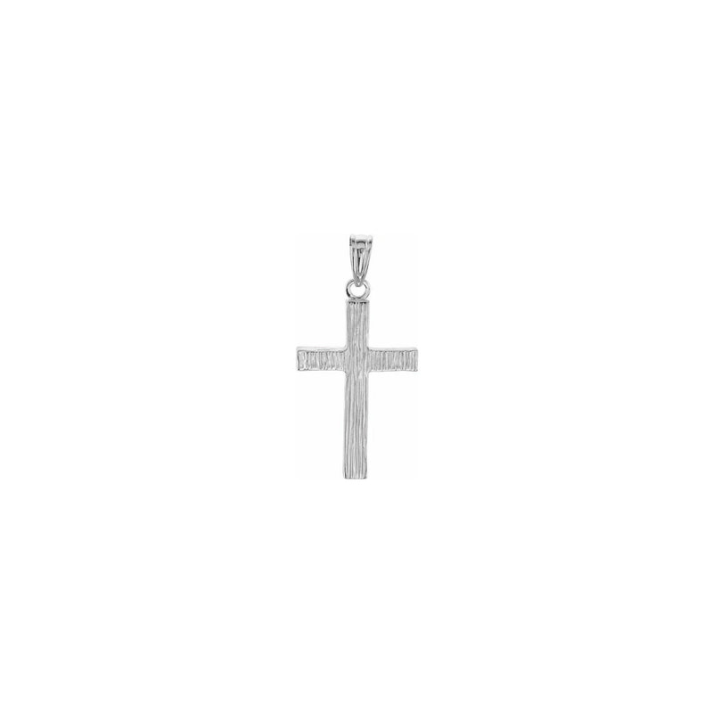 Wood Pattern Cross Pendant white medium (14K) front - Popular Jewelry - New York
