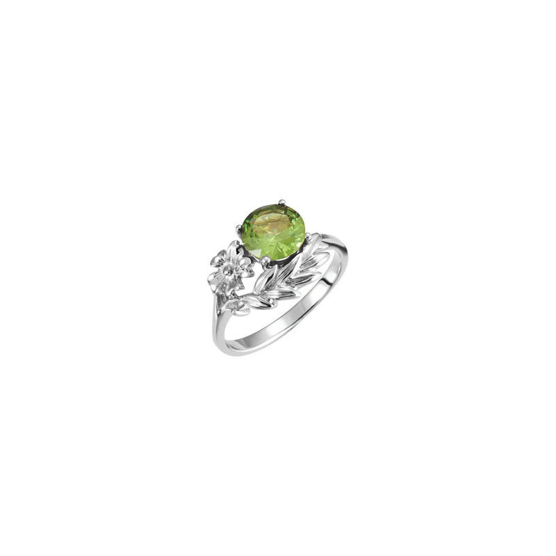 Round Green Gemstone Floral Ring white (14K) main - Popular Jewelry - New York