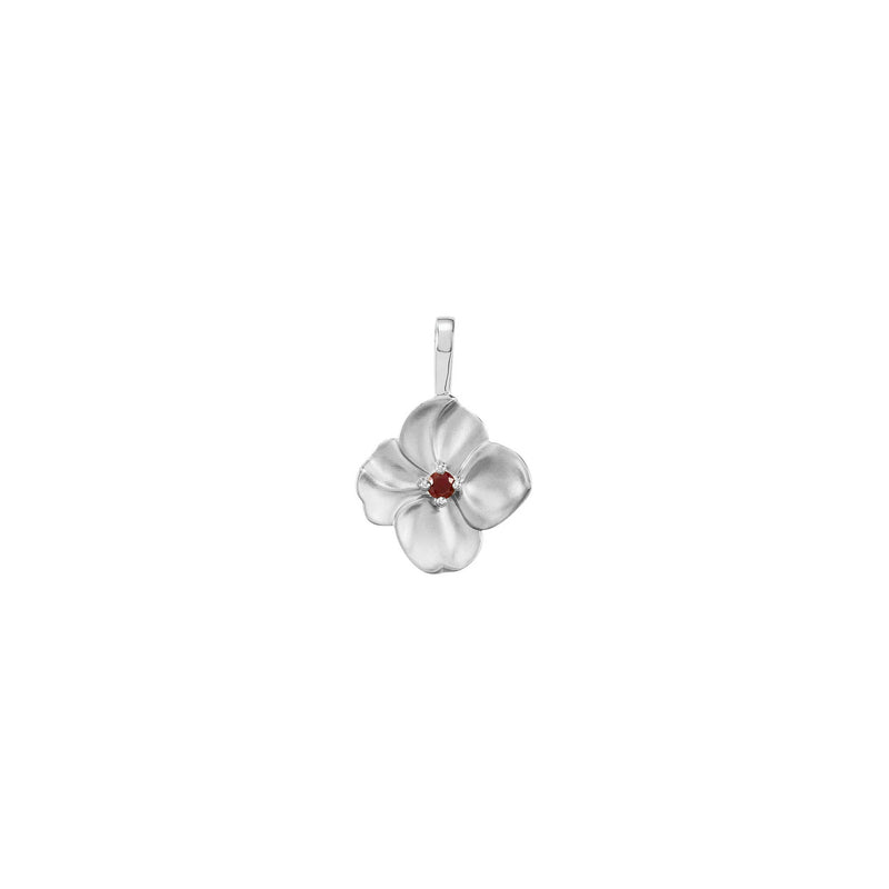 Ruby Flower Pendant white (14K) front - Popular Jewelry - New York