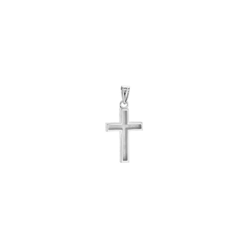 Wood Pattern Cross Pendant white small (14K) back - Popular Jewelry - New York