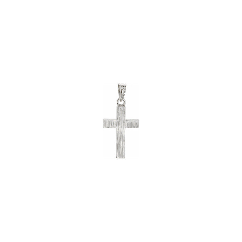Wood Pattern Cross Pendant white small (14K) front - Popular Jewelry - New York
