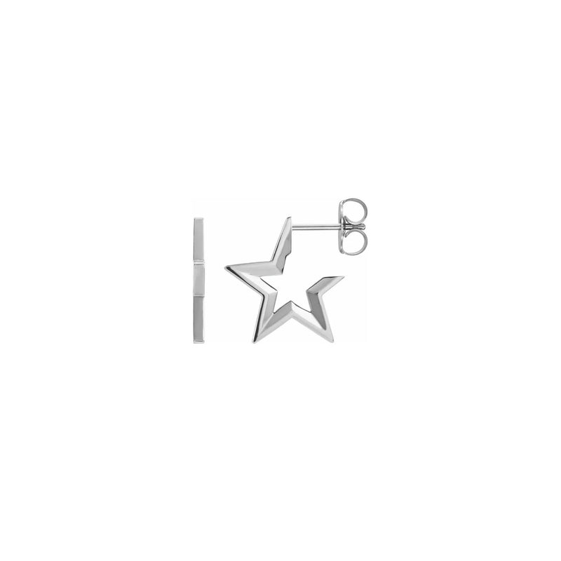 Star Hoop Earrings white (14K) main - Popular Jewelry - New York