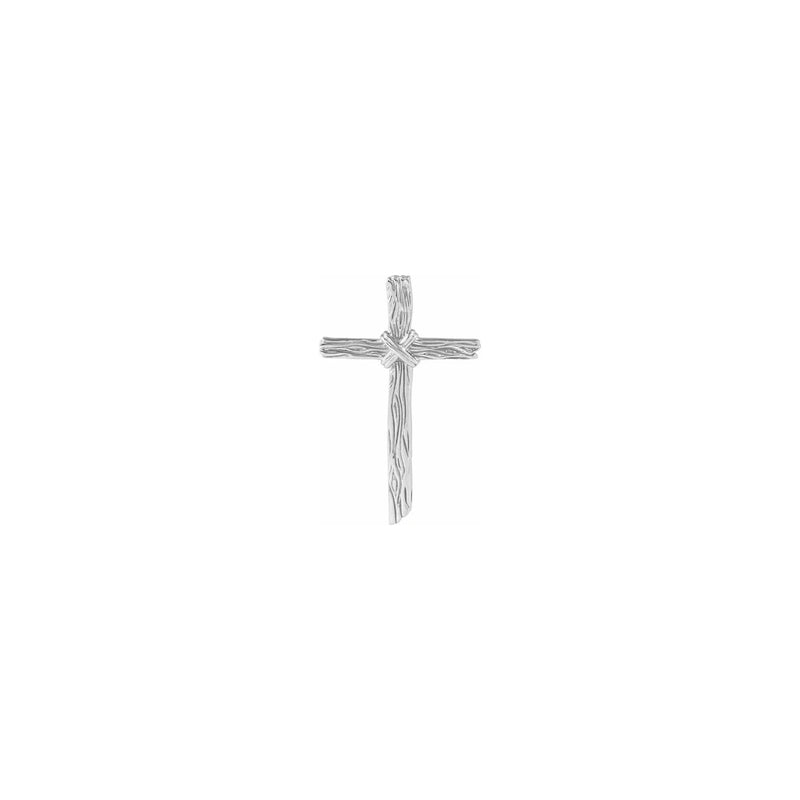 Woodgrain Cross Pendant white (14K) front - Popular Jewelry - New York