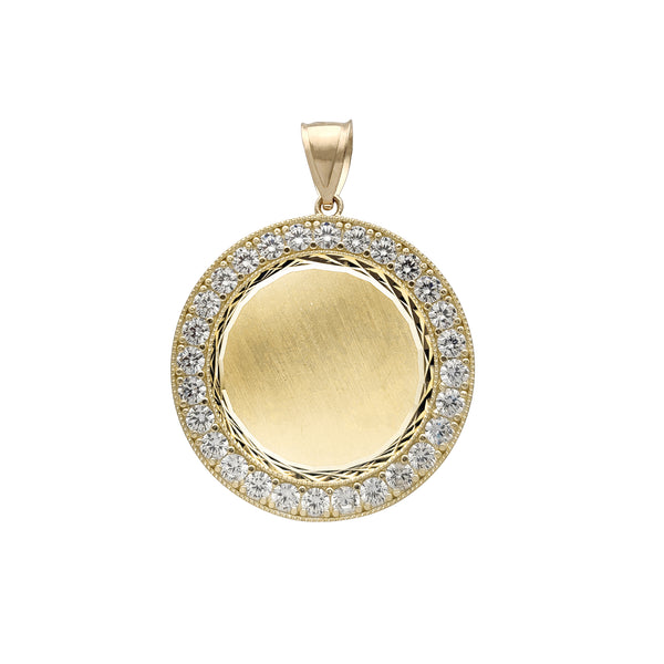 Zirconia Round Medallion Memorial Picture Pendant (14K)