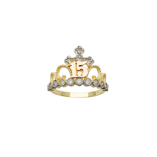 15 Years Birthday Crown-Tiara Ring (14K)