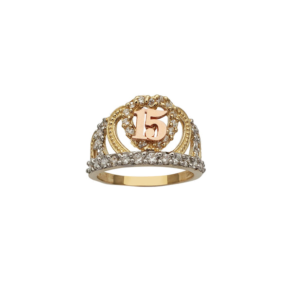15 Years Birthday Crown-Tiara Ring (14K) Popular Jewelry New York