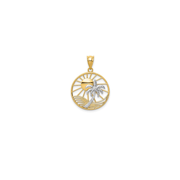 14 Karat Gold Two Tone Sun and Palm Tree Pendant Front View Product K4902 14KPPT140YAOO-GQ