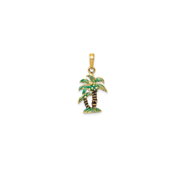 14 Karat Yellow Gold 3D Enameled Palm Trees Pendant Product Front View Double Sided 25 mm x 13 mm 0.98 inch x 0.51 inch 1.92 grams 14KPPT190YYKK-QG K2890