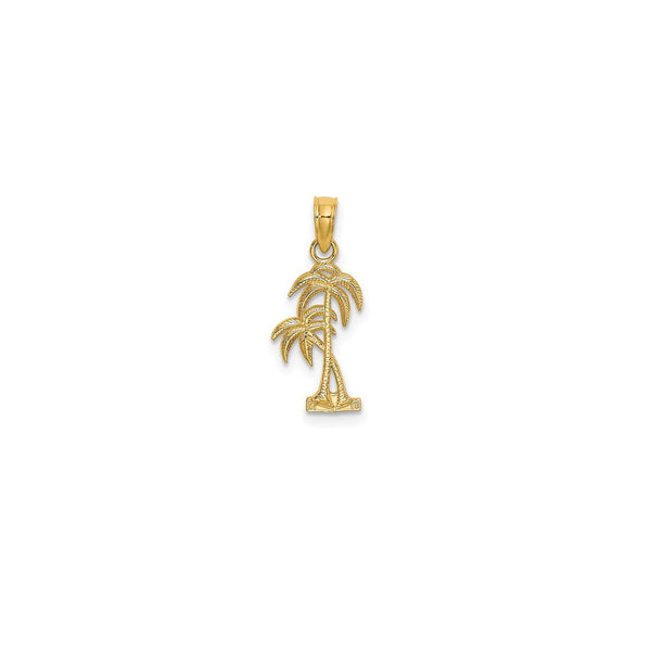 14 Karat Yellow Gold Textured Double Offset Palm Tree Charm Product Front View Cropped 14 mm x 9 mm 0.55 inch x 0.35 inch 0.58 grams K7392