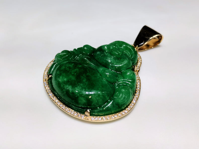 Laughing Jade Buddha Diamond Frame Pendant 14K