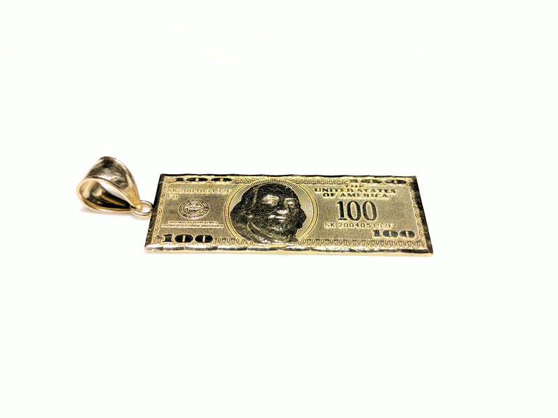 One Hundred Dollar ($100) Bill Pendant 14K