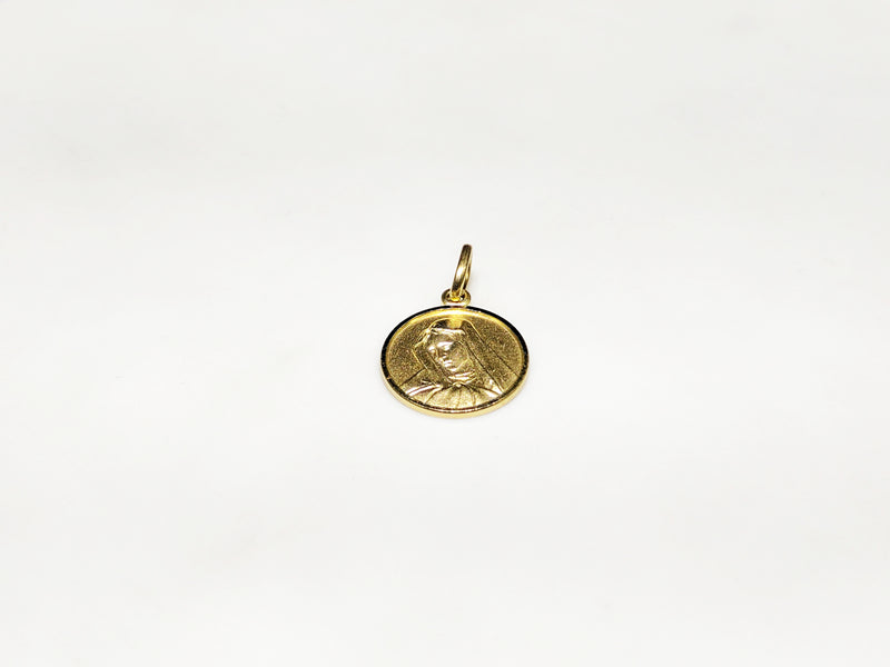 products/14_karat_585_yellow_gold_saint_mary_mother_portrait_la_pieta_michaelangelo_painting_clutching_son_medallion_style_pendant_laying_flat_front_view_web_product_Popular_Jewelry_New_York_City.jpg