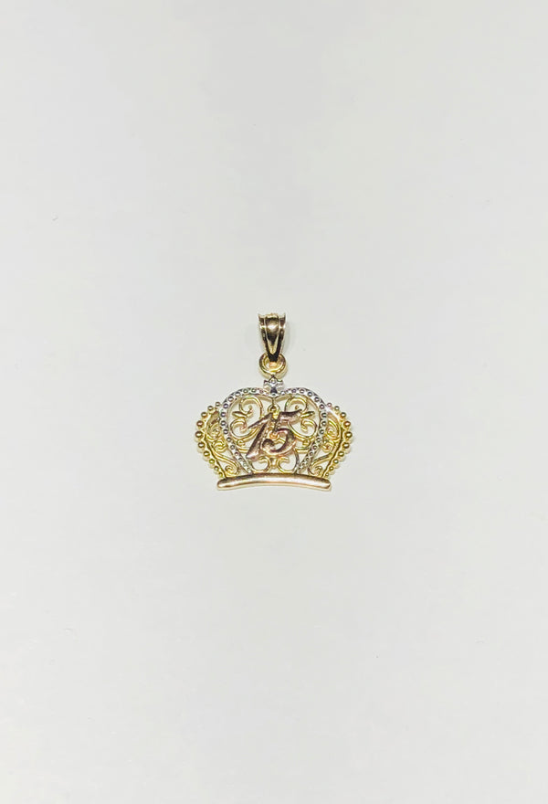 Tri-Color Fifteen Year Crown Pendant (14K)