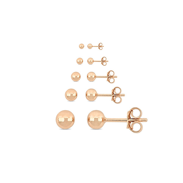 Rose Gold Ball Stud Earrings (14K)