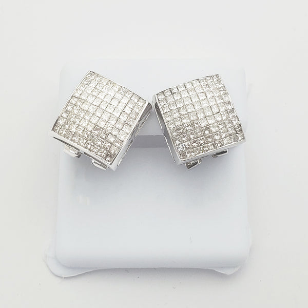 Invisible-Set Diamond Concave Square Earrings (14K)