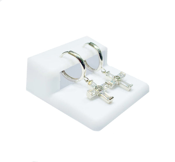 Cross CZ Earrings (14K).