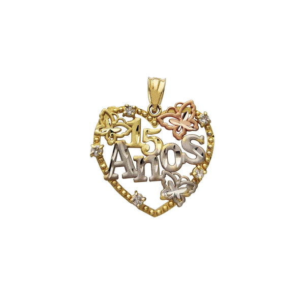15 Años Butterfly Milgrain Heart Border Pendant (14K) Popular Jewelry New York