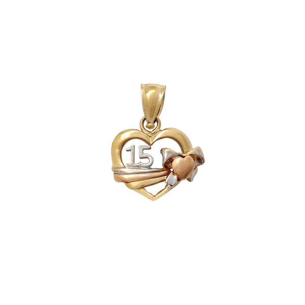 15 Quinceañera Heart Shape Pendant (14K) Popular Jewelry New York