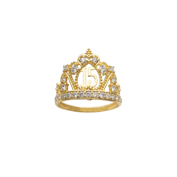 Stone-Set Queen Crown Quiceañera Ring Popular Jewelry New York