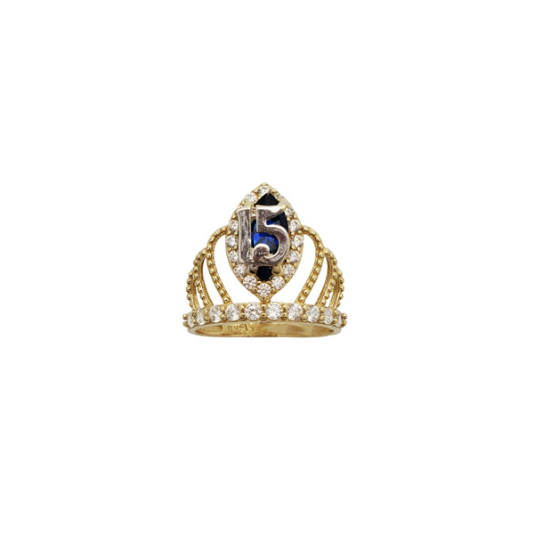 Blue Birthstone 15 Braided Crown Cz Ring (14K)