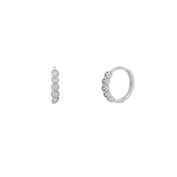 Bezel Setting Huggie Earrings (14K) Popular Jewelry Nûyork