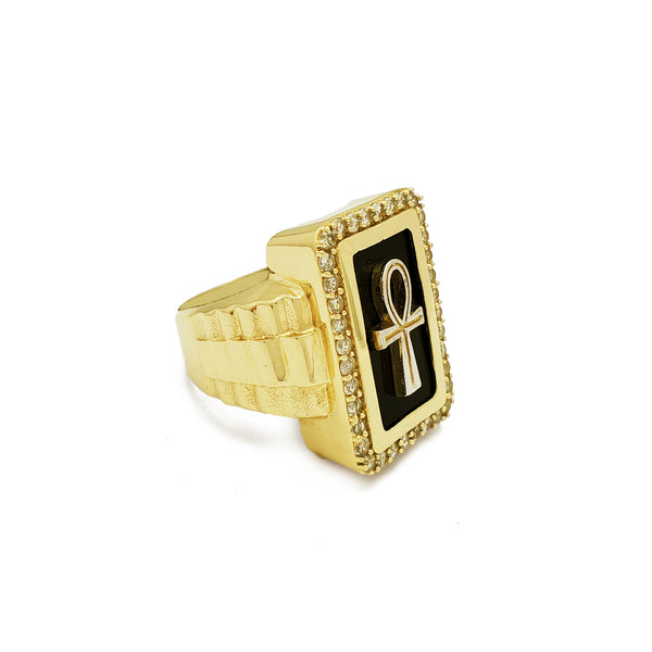 Anillo Presidencial Rectángulo Halo Ankh (14K) Popular Jewelry New York