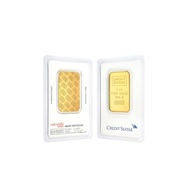 1oz-31.1g-Fine-Gold-24K-Credit-Suisse-Bar-Front-Back-Sealed-Assay-Certificate