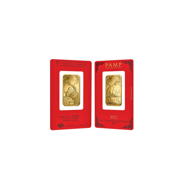 1 oz PAMP Suisse Chinese Lunar New Year of the Ox 牛 2021 Edition Gold Bar Front and Back View Sealed Card
