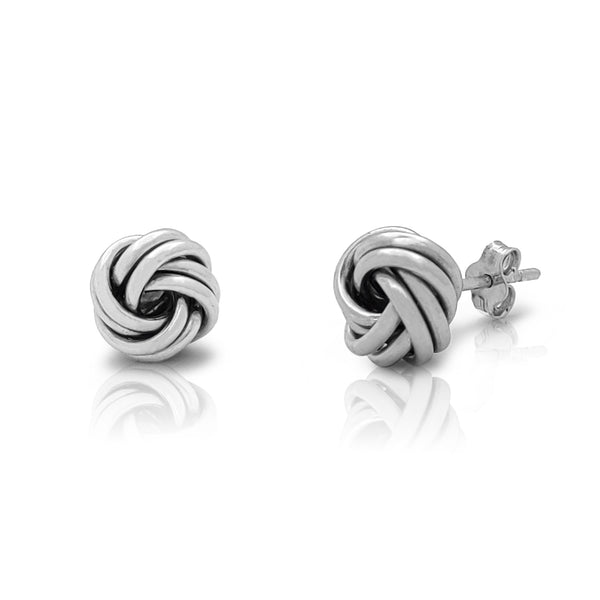 2-Rows Love Knot Earrings (Silver) Popular Jewelry New York