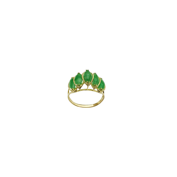 Yellow Gold Quintuple Jade Ring (14K)
