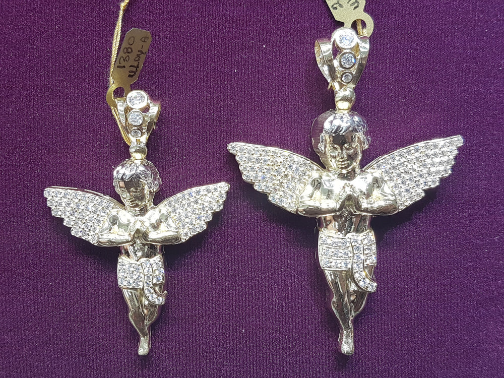 Iced-Out Baby Angel Mesh Back Pendant 10K - Popular Jewelry
