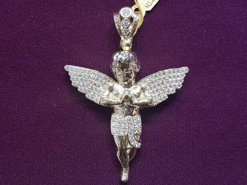 Iced-Out Baby Angel Mesh Back Pendant 10K - Lucky Diamond 恆福珠寶金行 New York City 169 Canal Street 10013 Jewelry store Playboi Charlie Chinatown @luckydiamondny 2124311180
