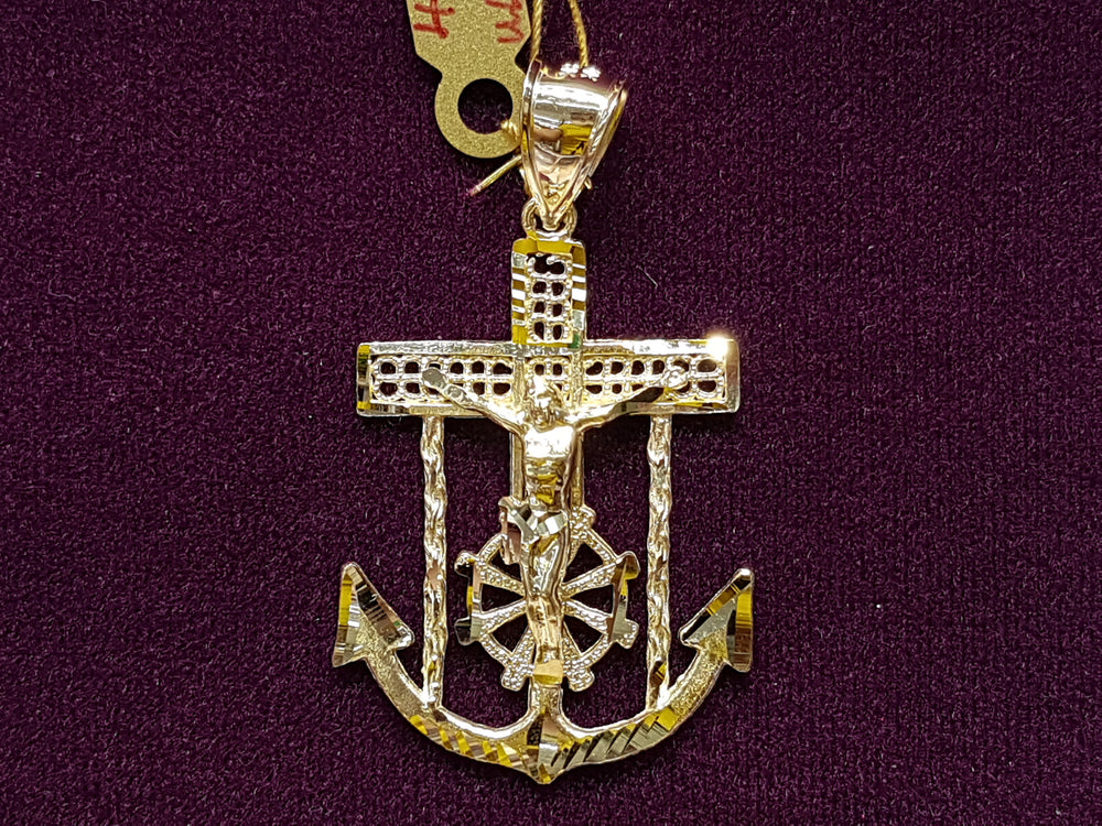 Jesus Anchor Pendant 10K - Popular Jewelry