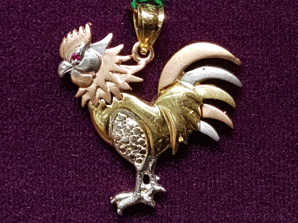 Tri-Gold Rooster CZ Pendant 14K