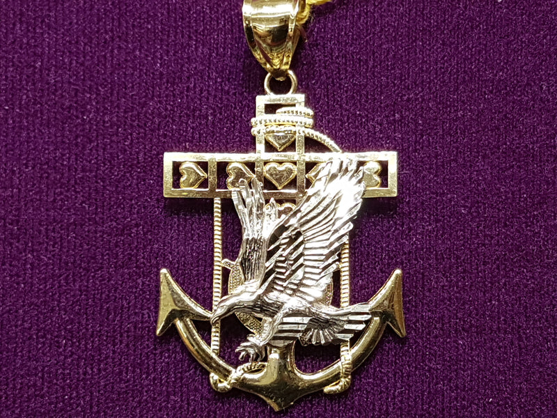 Eagle Anchor Pendant 10K - Lucky Diamond 恆福珠寶金行 New York City 169 Canal Street 10013 Jewelry store Playboi Charlie Chinatown @luckydiamondny 2124311180