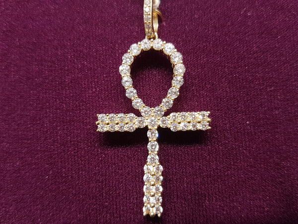 Iced-Out Pave Ankh Pendant 14K - Popular Jewelry