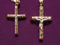 Filigree Tube Cross Pendant 10K