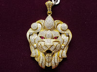 Iced-Out Lionhead Pendant Silver (Yellow) - Popular Jewelry