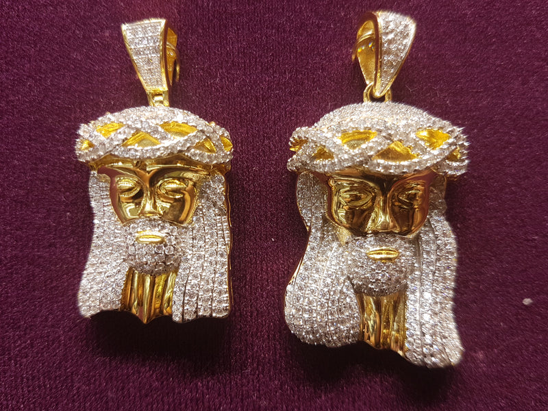 Iced-Out Pave Jesus Head Pendant Silver - Lucky Diamond 恆福珠寶金行 New York City 169 Canal Street 10013 Jewelry store Playboi Charlie Chinatown @luckydiamondny 2124311180