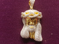Iced-Out Pave Jesus Head Pendant Silver (Yellow) - Popular Jewelry