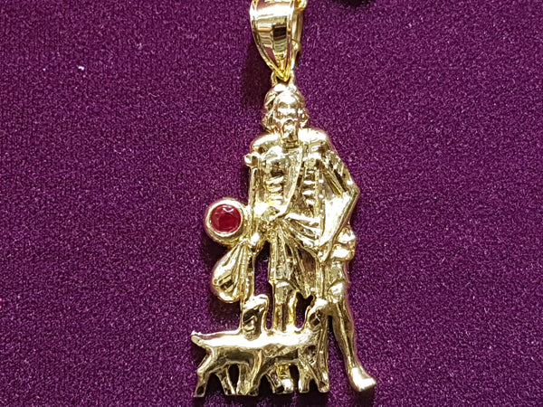 Saint Lazarus Little Red Gem Pendant 10K - Lucky Diamond 恆福珠寶金行 New York City 169 Canal Street 10013 Jewelry store Playboi Charlie Chinatown @luckydiamondny 2124311180
