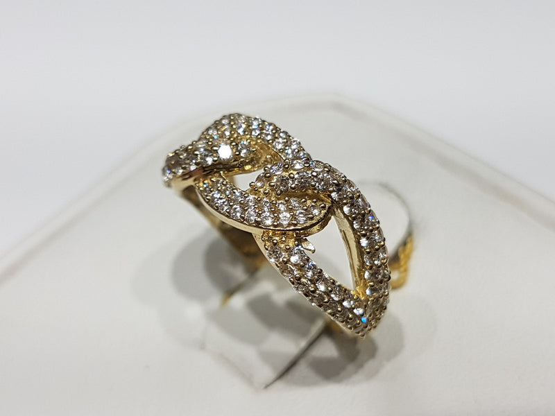 Iced-Out Round Cuban Link Ring (Side View)