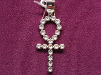 Iced-Out Prong Ankh Pendant Silver (White; Back View)