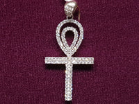 Iced-Out Pave Ankh of Life Pendant Silver (White)