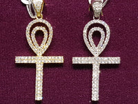 Iced-Out Pave Ankh of Life Pendant Silver