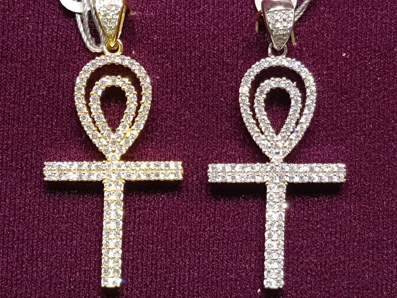 Iced-Out Pave Ankh Pendant Silver - Lucky Diamond 恆福珠寶金行 New York City 169 Canal Street 10013 Jewelry store Playboi Charlie Chinatown @luckydiamondny 2124311180