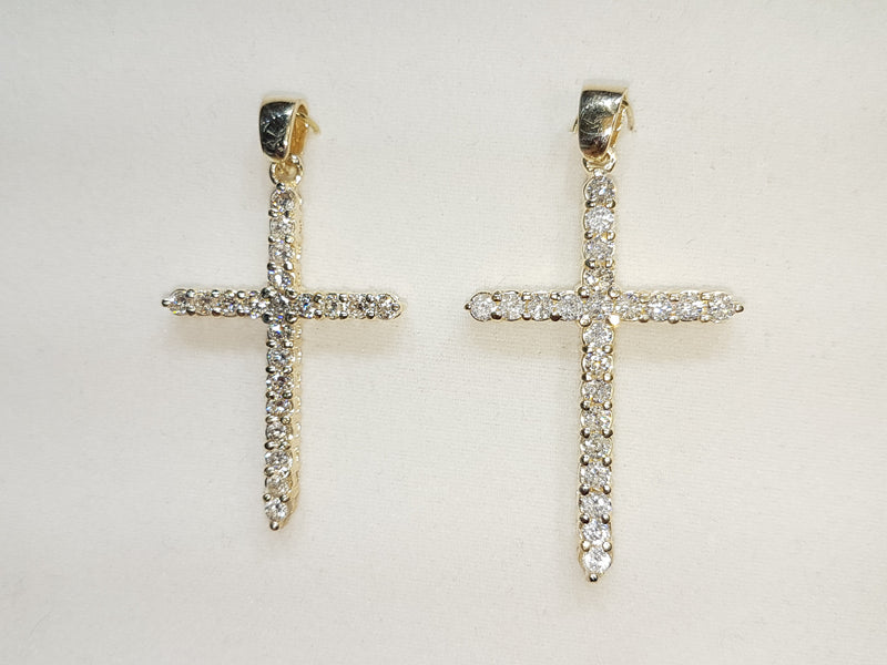 Diamond Cross 14K (Yellow) - Popular Jewelry