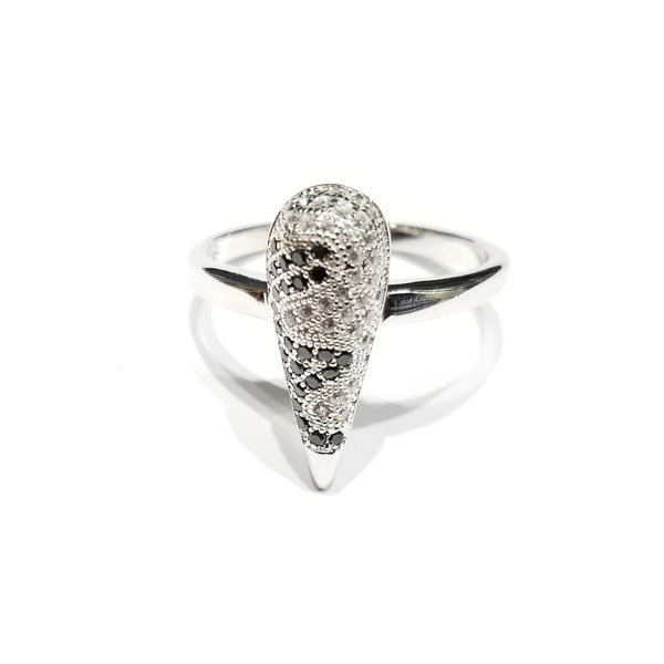 Two Toned Carrot CZ Ring (Sterling Silver)