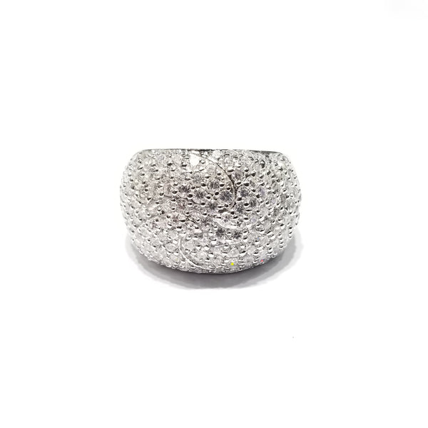 Large Solic Stones Cocktail CZ Ring (Sterling Silver)