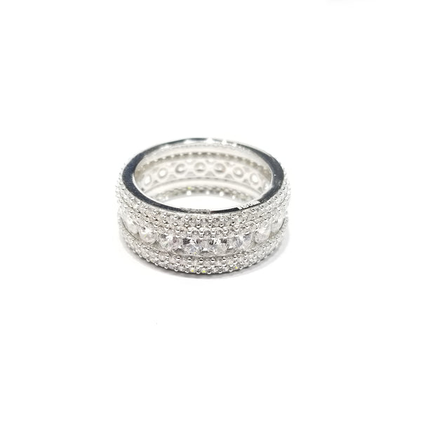 Iced Out CZ Ring (Stones at all angles) (Sterling Silver)